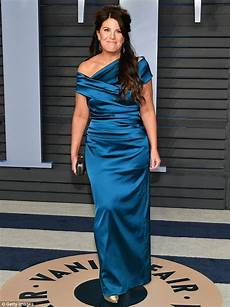 monica lewinsky attends vanity fair oscars party in a blue