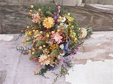 country calico bridesmaid dried flower bouquet rustic