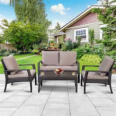 4pc patio rattan furniture set tea table chairs outdoor