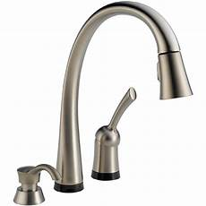touch free faucets kitchen shop delta pilar touch2o stainless 1 handle pull touch kitchen faucet at lowes