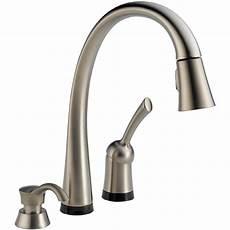 delta touch kitchen faucet shop delta pilar touch2o stainless 1 handle pull touch kitchen faucet at lowes