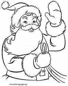 santa claus waving to the coloring page