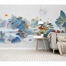 tapisserie vintage japonais paysage panoramique montagne