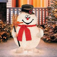Lit Outdoor Decorations by 28 Quot Outdoor Lighted Pre Lit Fuzzy Fur Frosty The Snowman
