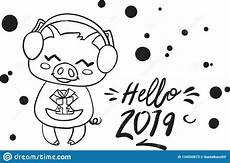happy animals coloring pages 17007 happy new year 2019 pig coloring page for kid stock vector illustration of coloring happy