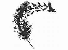 feder schwarz weiß vorlage wandtattoo feder mit vogelschwarm wandtattoos de