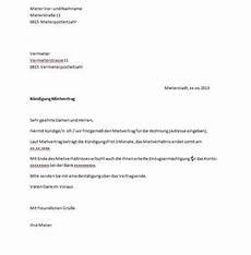 schreiben kündigung wohnung mietervertrag k 252 ndigung vorlage vertrag k 252 ndigung