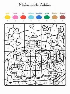 Ausmalbilder Zahlen Farben Ausmalbild Malen Nach Zahlen Geburtstagstorte Mit Herzen