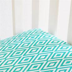 turquoise and white diamond crib sheet by oliver b