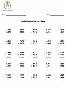 4th grade math worksheet addition and subtraction addition and subtraction of decimals worksheets addition