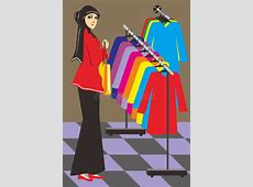Muslim women are shopping stock vector. Illustration of