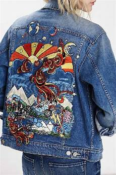 denim embroidered jean jacket from new york by encounter shoptiques