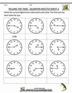 time worksheets 15580 clock worksheets quarter past and quarter to with images telling time worksheets time