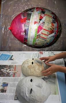pappmache masken luftballon basteln anleitung diy maske