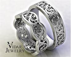 his and hers gold wedding band set unique leaf design vidar jewelry unique custom