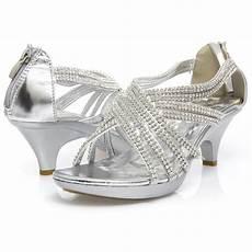 Silver Shoes For Wedding Low Heel silver criss cross wedding bridal rhinestone low kitten