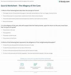 Allegory Of The Cave Worksheet Answers | quiz worksheet the allegory of the cave study com
