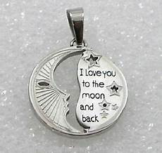 quot i love you to the moon and back quot stainless steel pendant necklace silver new ebay