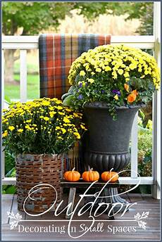 Decorations For Outside by Outdoor Fall Decorating In Small Spaces Stonegable