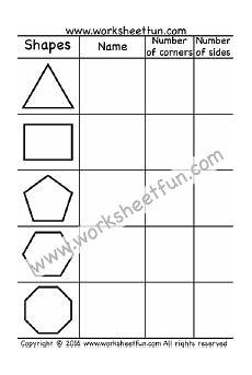 shapes sides worksheets 1269 corners and sides triangle rectangle pentagon hexagon octagon one worksheet with