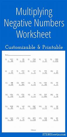 multiplying negative numbers worksheet customizable and