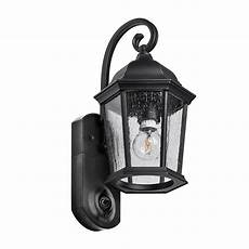 maximus coach smart security textured black metal and glass outdoor wall lantern spl11 07a1w4