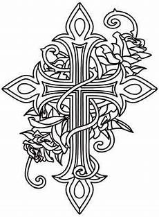 awesome cross coloring page cross and roses urban threads unique and awesome embroidery designs cross coloring page