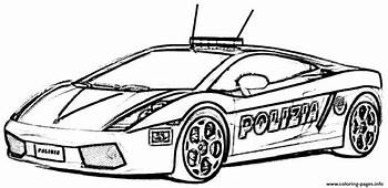 Free Download Police Car Lambourguini Sport Coloring Pages