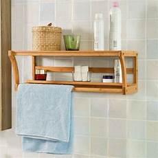 Bamboo Wooden Wall Mounted Bathroom Towel Rail Holder
