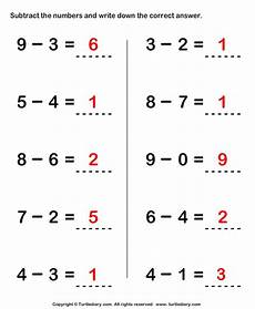 subtraction worksheets and answers 9985 subtract the numbers and write the answer worksheet turtle diary