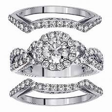 14k or 18k white gold or platinum 2 3 5ct tdw diamond halo bridal ring f g si1 si2