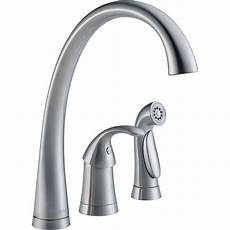 delta faucets kitchen delta pilar waterfall single handle standard kitchen faucet with side sprayer in arctic