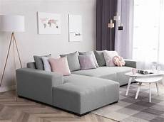 Modern Sectional Sofa Light Grey Fabric Right Chaise