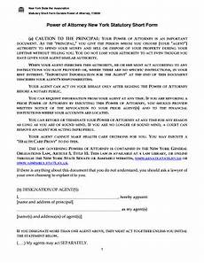 power of attorney new york statutory short form fill online printable fillable blank