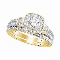 14k yellow gold diamond square halo bridal wedding