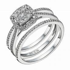 9ct white gold 0 50ct diamond cushion bridal ring