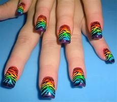 love4nailart rainbow zebra nails