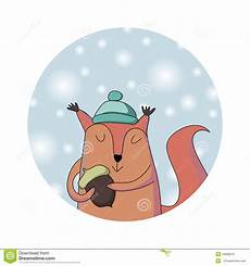 clipart inverno winter squirrel card stock vector