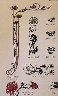 Malvorlagen Jugendstil Wedding Einfache Florale Ornamente Im Jugendstil Stock