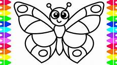 learn how to draw a butterfly easy coloring pages for kids toddlers babies colored markers