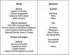 menu traditionnel français commander au restaurant bac