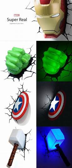 awesome 3d marvel superhero nightlights need to start this collection for b s room all things