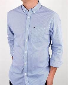 hilfiger classic stripe shirt white blue mens