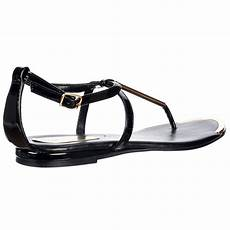shoekandi gladiator toe flat sandal gold bar toe plate black shoekandi from