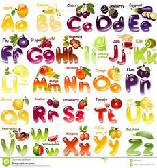 alphabet with fruits stock illustration image 56245216