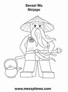 lego ninjago sensei wu colouring in page www