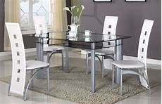 brand new 5 pcs modern dining glass top dining room table 4 chairs ebay