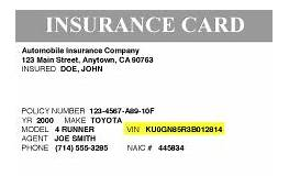 Toyota VIN Insurance Card O  Vacaville