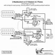 2 humbuckers coil split wiring diagram for 2 hbs 3 way 2 vol 2 tone coil tap series parallel phase jimmy page
