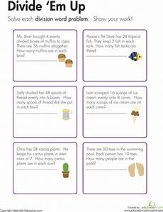division word problems divide em up worksheet education